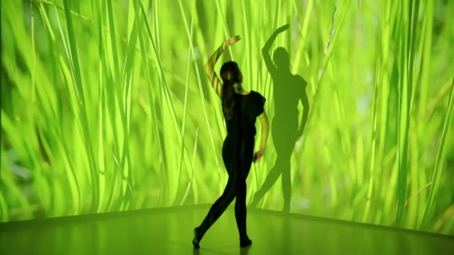 grass projection upon a female dancer - projection stock videos & royalty-free footage