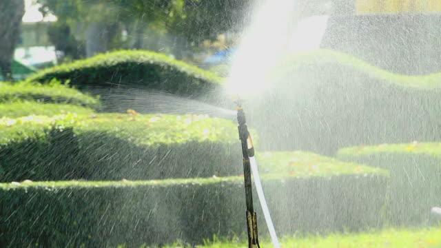 erba annaffiatore - fontana struttura costruita dall'uomo video stock e b–roll
