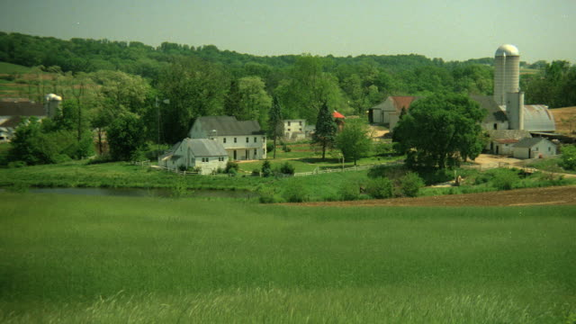 grass waves in a field on a hill above white amish farm buildings. - amish stock videos & royalty-free footage