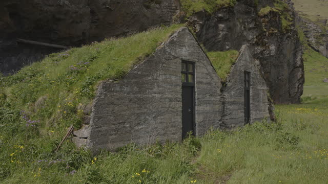 grass-topped farmhouse / evindarholar, iceland - architecture stock videos & royalty-free footage