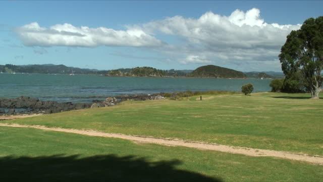 ws grassy shore by bay, waitangi, new zealand - bay of islands nya zeeland bildbanksvideor och videomaterial från bakom kulisserna