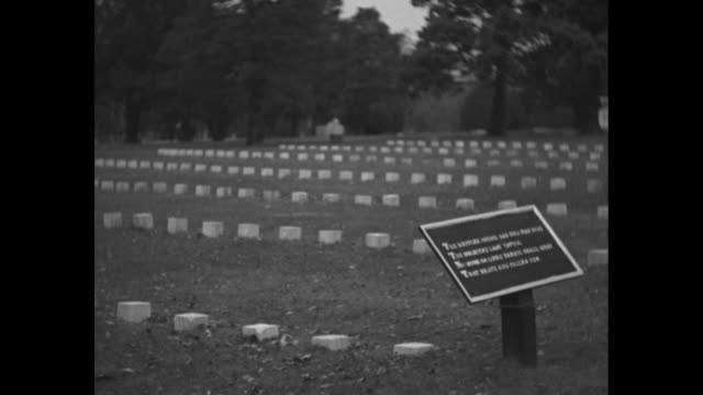 grave markers in gettysburg national cemetery, monuments in bg, tree in fg / rows of markers, information sign in fg / headstones, trees in bg /... - gettysburg stock-videos und b-roll-filmmaterial
