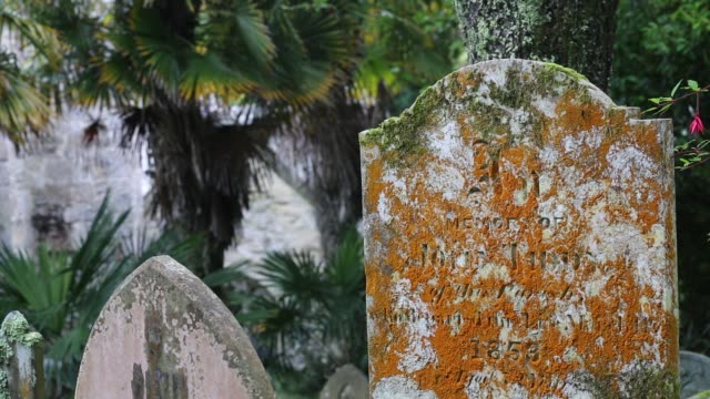 grave stones in the churchyard of the famous st just in roseland church in cornwall, uk. - tomb stock videos & royalty-free footage