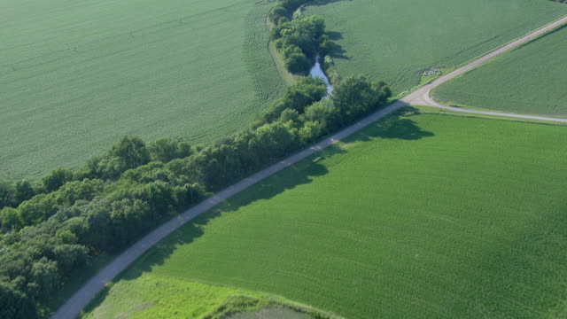 Gravel road in the country surrounded by fields and a farm house