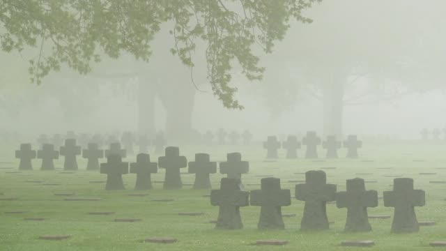 vidéos et rushes de graves lie in morning fog at the la cambe german war cemetery on april 29 2019 near la cambe france the cemetery contains the remains of... - cimetière