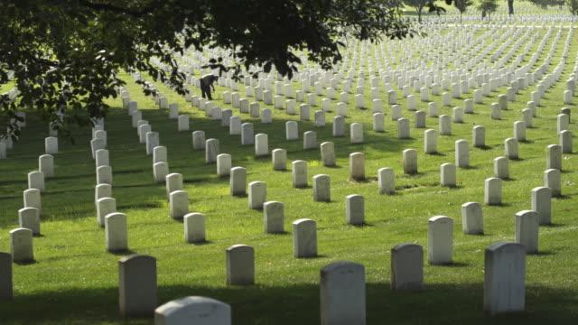 ms gravestones at arlington national cemetery, section 33, woman in background, arlington, virginia, usa - cimitero nazionale di arlington video stock e b–roll