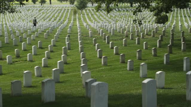 ws gravestones at arlington national cemetery, section 33, woman in background, arlington, virginia, usa - cimitero nazionale di arlington video stock e b–roll