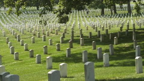 vídeos y material grabado en eventos de stock de ws pan gravestones at arlington national cemetery, section 33, woman in background, arlington, virginia, usa - arlington