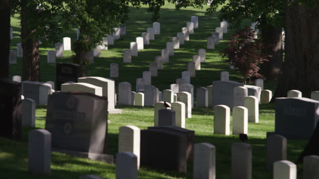 gravestones on the slope of a hill in arlington national cemetery. shot in may 2012. - アーリントン点の映像素材/bロール