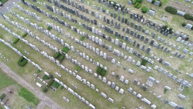 graveyard arial video, rising slowly above grave markers - cemetery stock videos & royalty-free footage