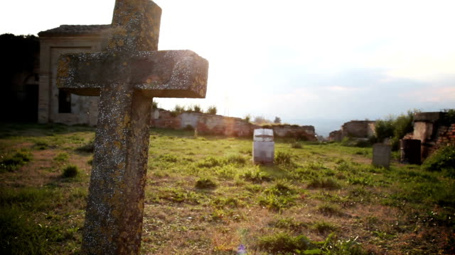 dolly: graveyard in a sunny day - cemetery stock videos & royalty-free footage