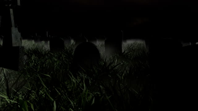 stockvideo's en b-roll-footage met graveyard stormy night - kerkhof