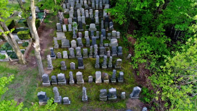 graveyard up up and away aerial - cemetery stock videos & royalty-free footage