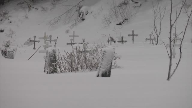 graveyard with crosses covered in snow - anchorage alaska stock videos and b-roll footage