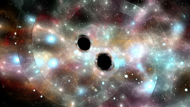 gravitational waves from black hole merger - e=mc2 stock-videos und b-roll-filmmaterial
