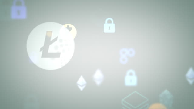 gray looping cryptocurrencies security animation - network security stock videos & royalty-free footage