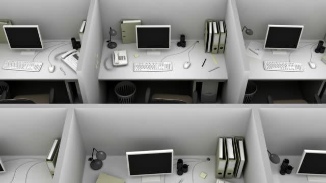 gray office for routine work. loop. - office partition stock videos & royalty-free footage