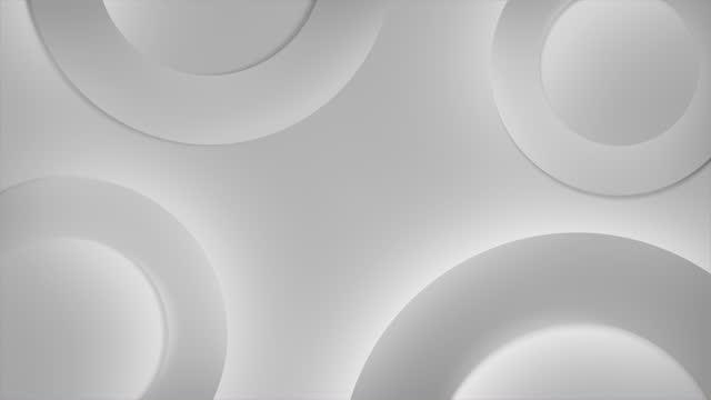 vídeos y material grabado en eventos de stock de fondo moderno de moda gris, textura de renderizado 3d con rotación de círculo en movimiento, concepto de superficie espiral, movimiento simple abstracto, limpio y suave - gris