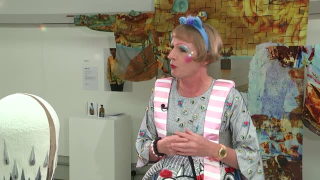 Grayson Perry becomes Chancellor of the University of the Arts ENGLAND London INT **Music can be heard on PAB** Grayson Perry along with reporter as...