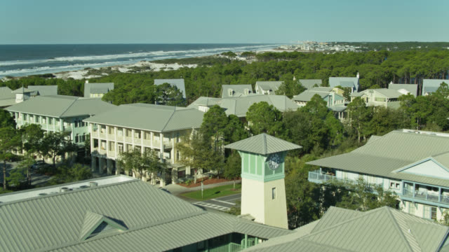 grayton beach and watercolor, florida - drone shot - gulf of mexico stock videos & royalty-free footage