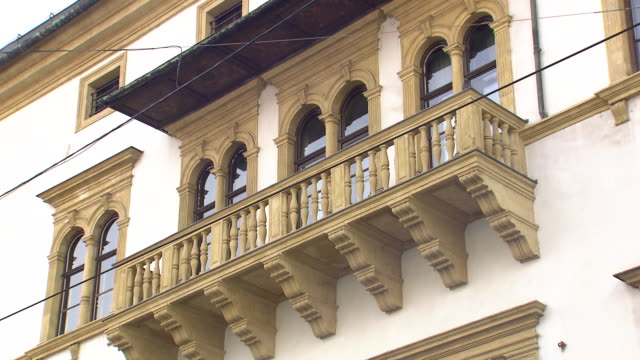 graz - balcony and sign board of town house in graz - traditionally austrian stock videos & royalty-free footage