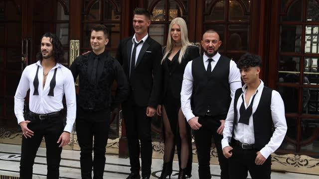 "graziano di prima, pasha kovalev, aljaz skorjanec, nadiya bychkova, robin windsor and karim zeroual pose during the ""here come the boys"" photocall at... - イングランド南東部点の映像素材/bロール"
