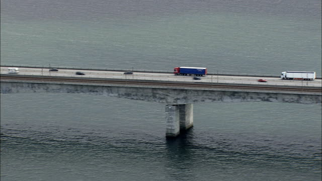 great belt bridge - aerial view - zealand, denmark - belt stock videos and b-roll footage