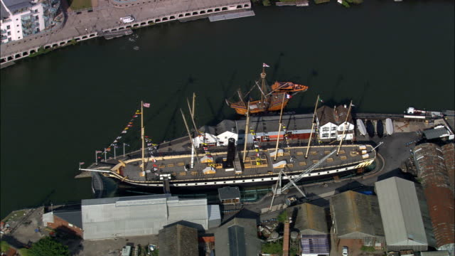 ss great britain - aerial view - england, bristol, united kingdom - bristol england stock videos & royalty-free footage