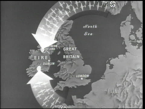 vídeos de stock e filmes b-roll de map great britain ireland highlighted arrows containing axis aircraft out of norway france arrows into soldiers marking allied airbases that could... - 1944