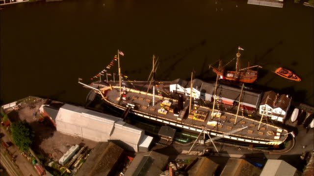 aerial, ss great britain moored in dock, bristol, england - bristol england stock videos and b-roll footage