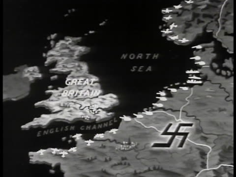 great britain & occupied france w/ nazi swastika, fortified seacoast highlighted w/ specific weapons, aircraft, tanks, ships, submarine. - nazi swastika stock videos & royalty-free footage