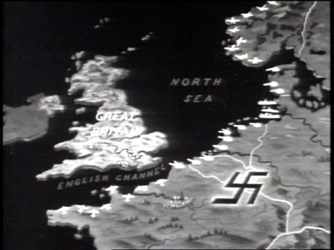 map great britain occupied france w/ nazi swastika fortified seacoast highlighted w/ specific weapons aircraft tanks ships submarine - nazi swastika stock videos & royalty-free footage