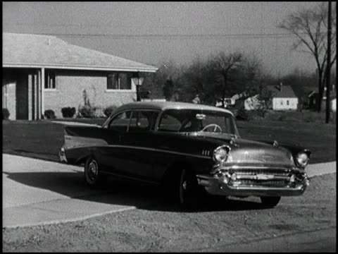 a great collection of shots featuring the iconic 1957 chevrolet bel air driving in the suburbs and on highways classic 1950's americana montage 1957... - chevrolet stock videos & royalty-free footage