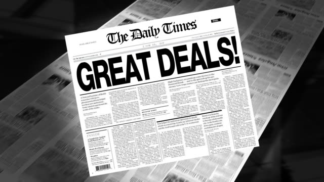 great deals! - newspaper headline (intro + loops) - everything must be sold stock videos & royalty-free footage