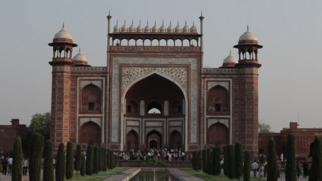 ws great gateway to taj mahal / agra, india - agra stock videos and b-roll footage