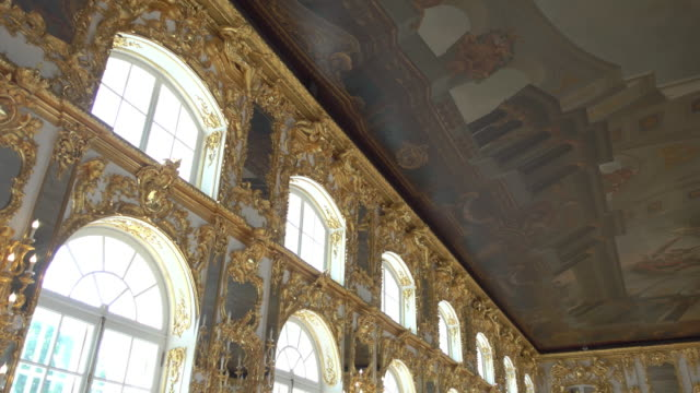 great hall in catherine palace, saint petersburg - palacio stock videos & royalty-free footage