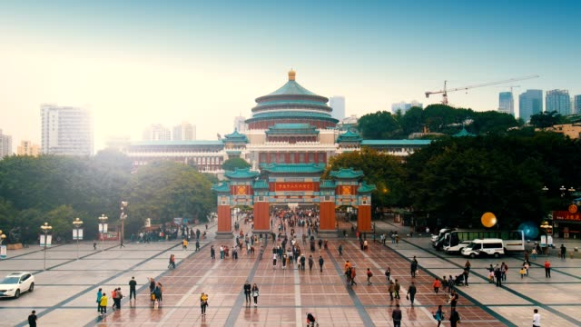 great hall of the people in chongqing - courtyard stock videos & royalty-free footage