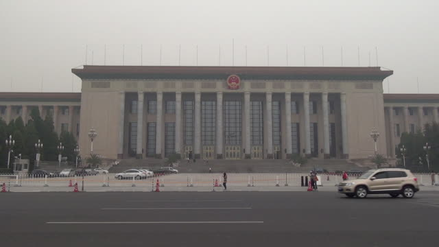great hall of the people in tiananmen square, beijing, china - tiananmen square stock videos & royalty-free footage