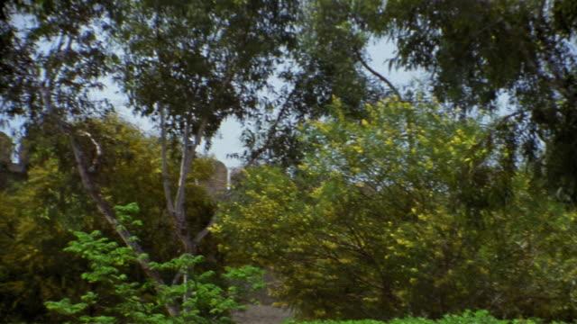 vídeos de stock e filmes b-roll de cu, pan, great mosque behind trees, kairouan, tunisia - por volta do século 7 dc