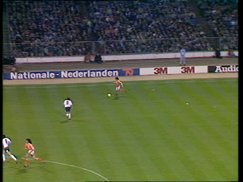 Great passing move culminates with spectacular diving header scored by Dutch striker John Bosman during international friendly England vs Holland...