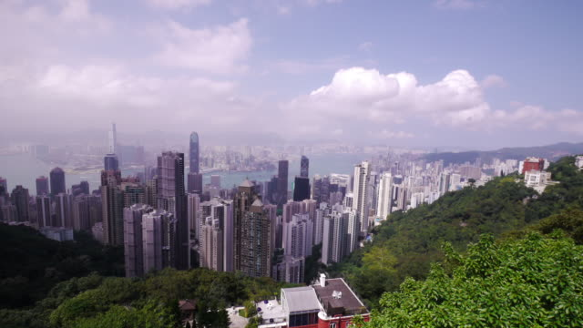 great shot of hong kong's skyline from the peak - time lapse day. - spoonfilm stock-videos und b-roll-filmmaterial