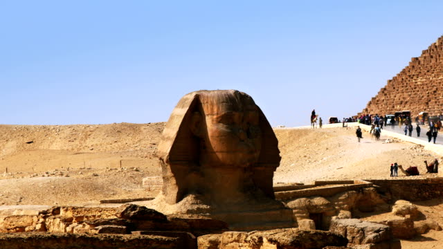 Great Sphinx in front of Pyramids of Giza, Cairo Egypt