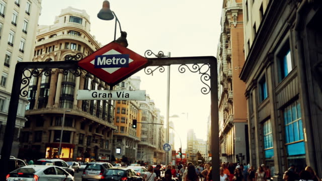 gran via in madrid - railway signal stock videos & royalty-free footage