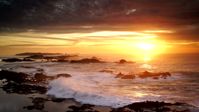 great sunset view of atlantic ocean at essouira, morocco - moroccan culture stock videos & royalty-free footage