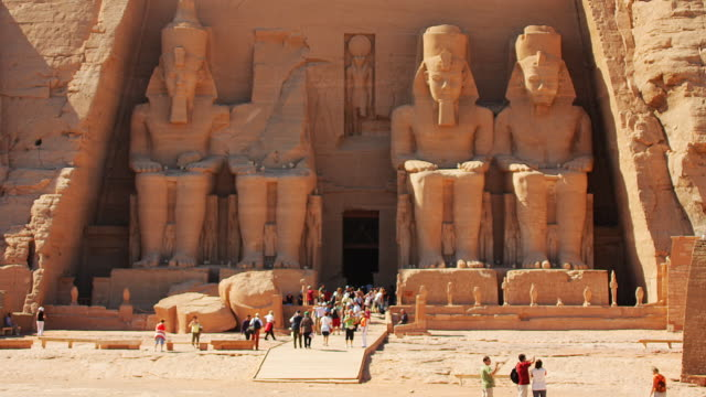 t/l, ms, great temple at abu simbel, nubia, egypt - tourism stock videos & royalty-free footage