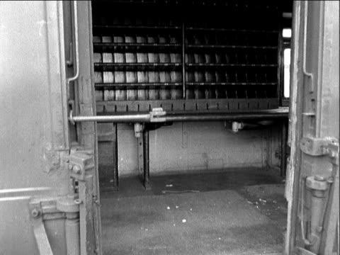 buckinghamshire cheddington bridego railway bridge stationary train in station pan ms interior ransacked mail van cs broken window ms glass on floor... - stealing stock videos & royalty-free footage