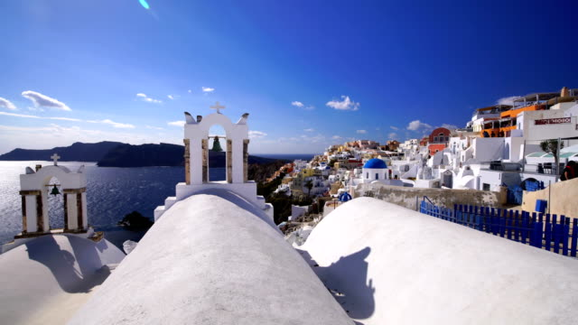 great twilight view of santorini island. oia city, - oia santorini stock videos & royalty-free footage