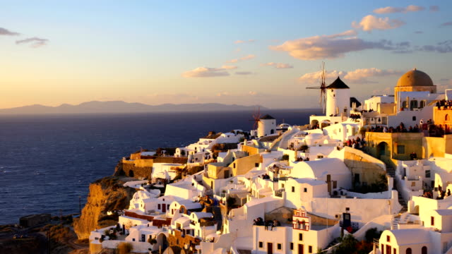 great twilight view of santorini island - oia santorini stock videos & royalty-free footage