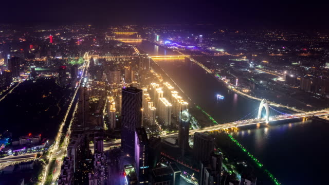 t/l ws td great view on east tower/ guangzhou, china - guangzhou stock videos & royalty-free footage