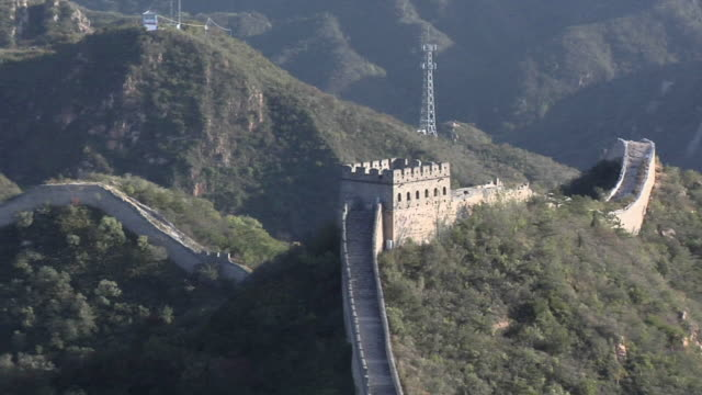ha ws zo great wall and mountains at badaling/ beijing, china - badaling great wall stock videos & royalty-free footage
